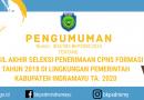 Pengumuman Nilai Integrasi SKD dan SKB CPNS Kabupaten Indramayu Tahun 2020