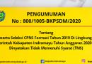 PESERTA SELEKSI CPNS FORMASI Th 2019 TA 2020 YANG DINYATAKAN TMS