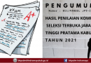 PENGUMUMAN HASIL KOMPETENSI MANAJERIAL SELEKSI TERBUKA JPT TAHUN 2021