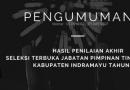 PENGUMUMAN HASIL PENILAIAN AKHIR SELEKSI JPT TAHUN 2021